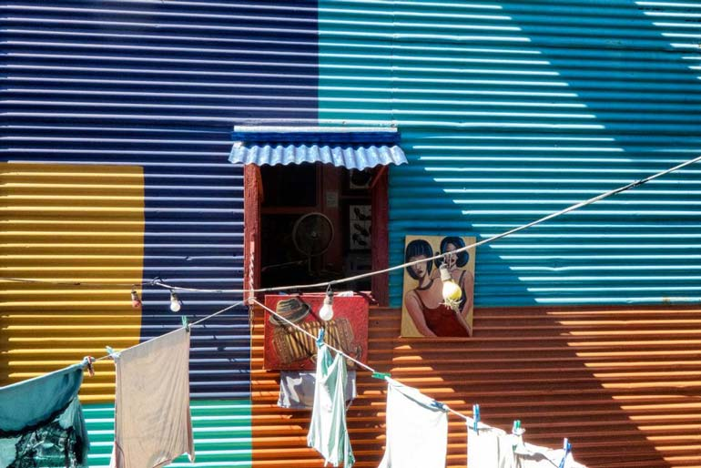 brightly coloured building in la boca buenos aires argentina