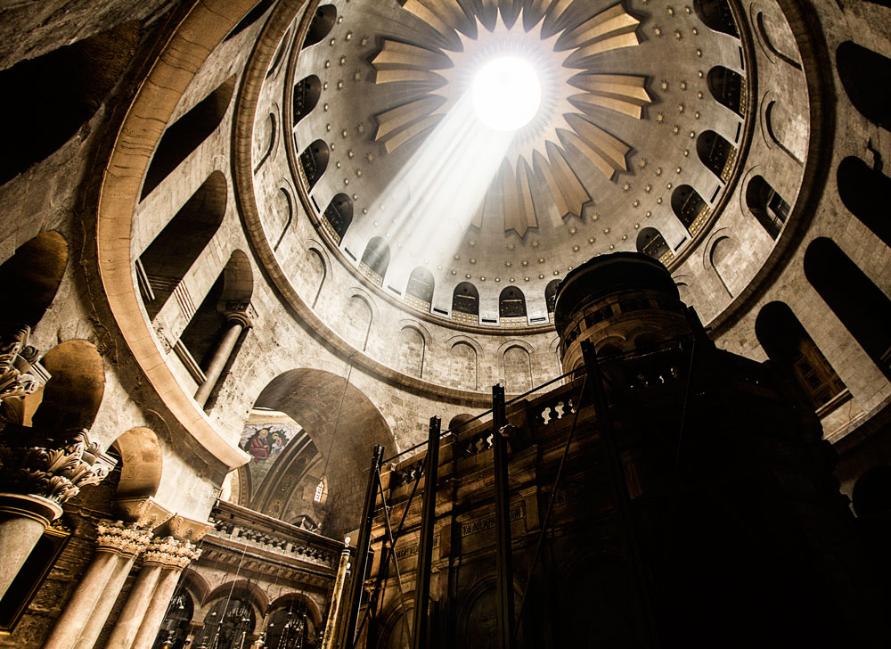 shaft of light bursting through roof of Church of the Holy Sepulchre Jerusalem