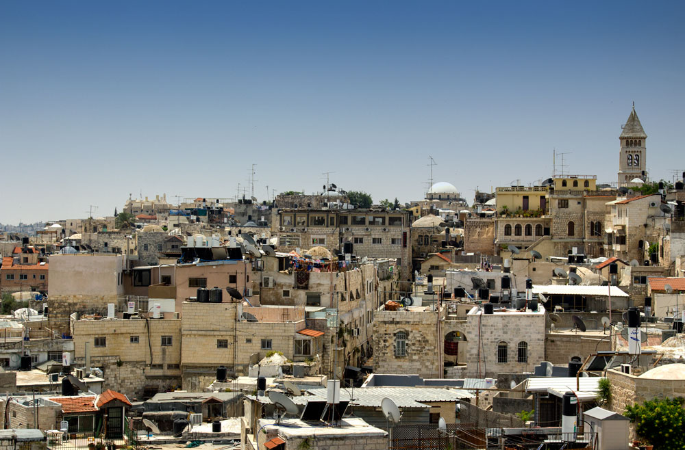 rooftops of old city of jerusalem seen from wlaking the ramparts which is one of the best things to do in jerusalem
