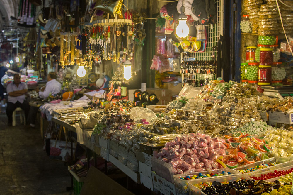 market stall in the souk of old city of jerusalem