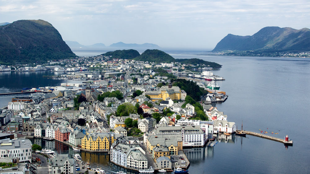 view of the art nouveau town of alesund-norway