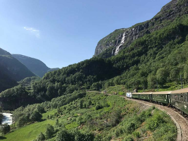 train passing through valley near flam norway