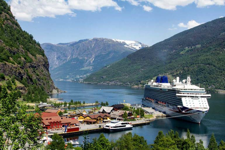 P&O's Britannia parked up at Flam, Norway