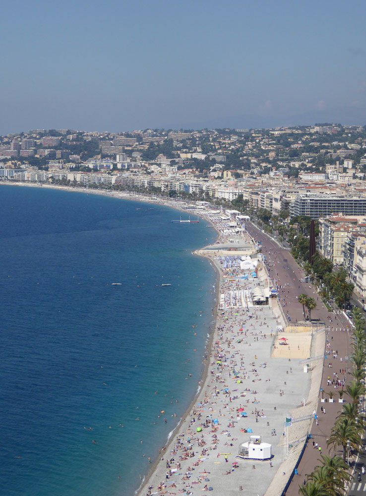 panoramic view of sweeping beach in nice france