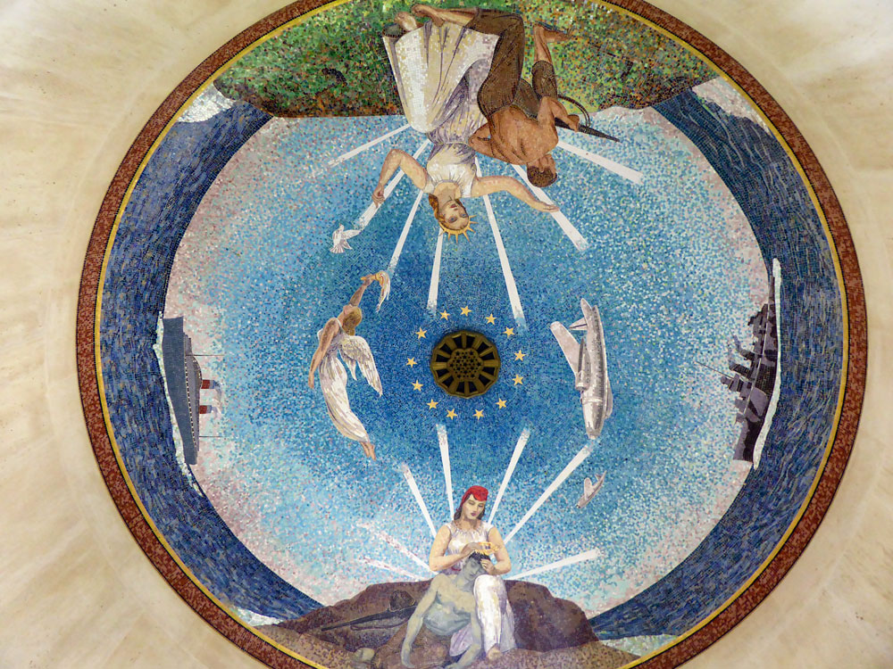 Ceiling mosaic of angels in bright colours in the chapel in the Normandy American Cemetery