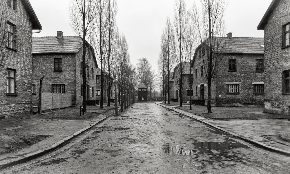 barrack buildings of auschwitz on a rainy day