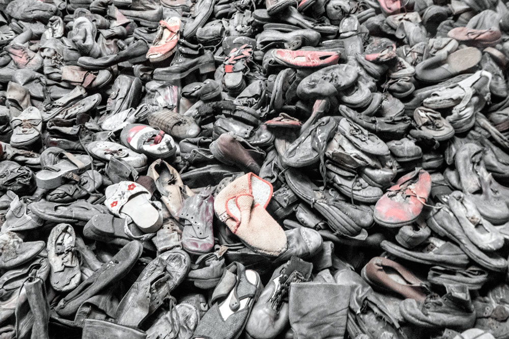 pile of old shoes at Auschwitz I