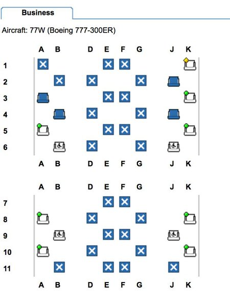 Expert Flyer: Seat Map of qatar airways QSuite cabin