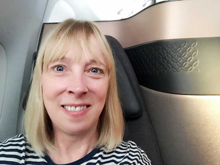 Bridget aka travel blogger the flashpacker on qatar airways