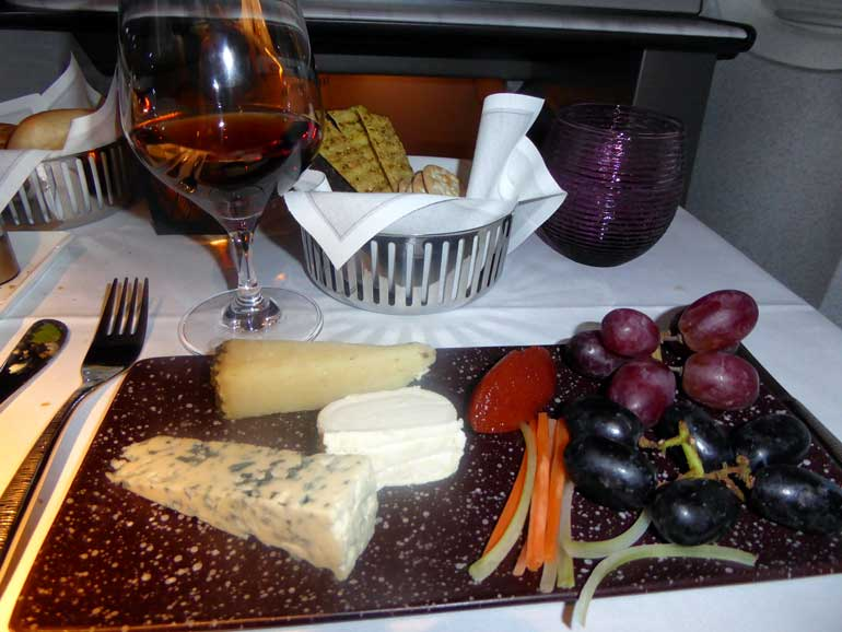 Cheese and port on board Qatar Airways QSuite