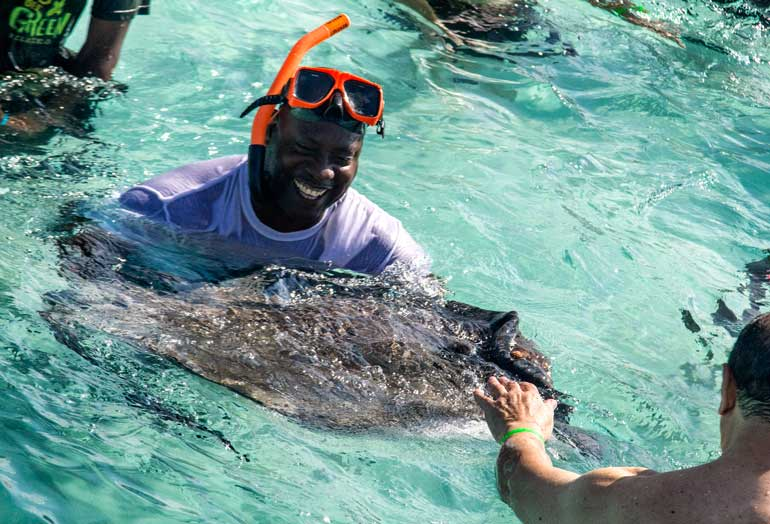 Swimming with stingrays, Grand Cayman