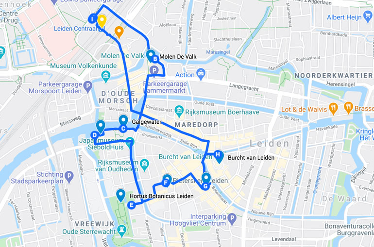 leiden-walking-tour-map
