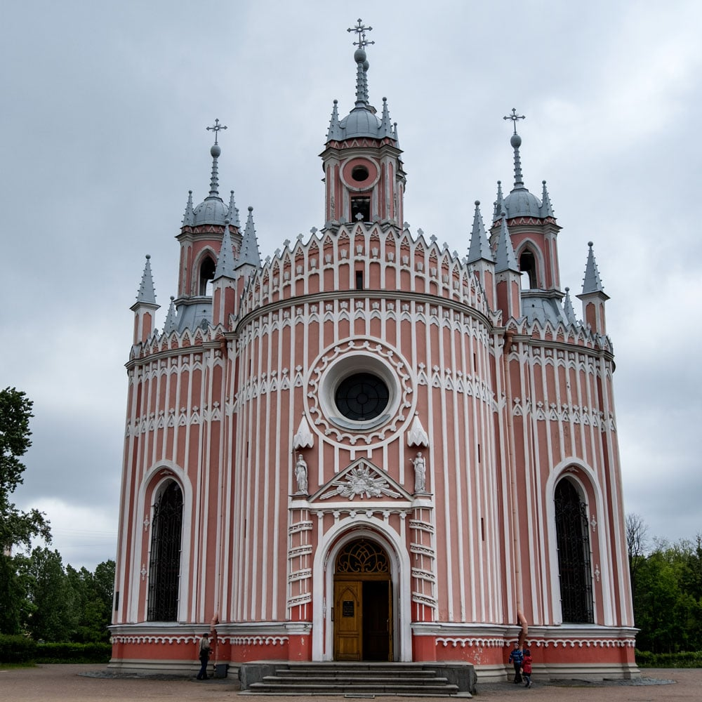 candy pink and white exterior of chruch in st petersburg russia
