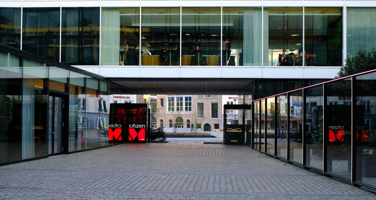 entrance to citizenm hotel rotterdam review
