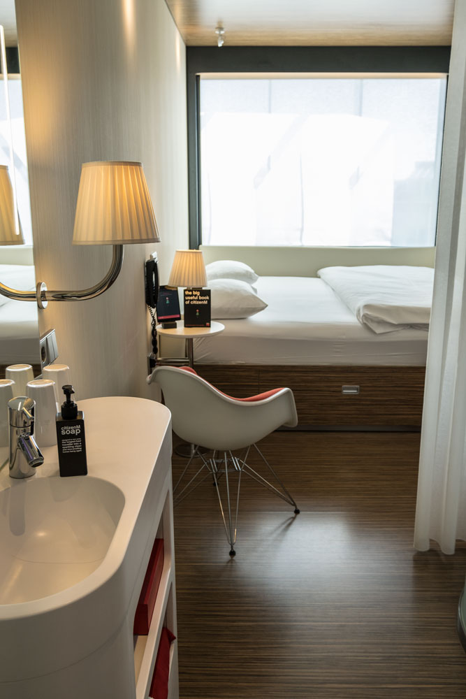 citizenm-hotel-rotterdam-room with sink and bed