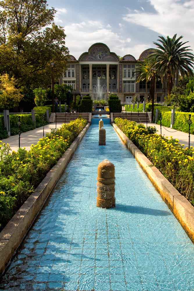 garden in iran with long fountain