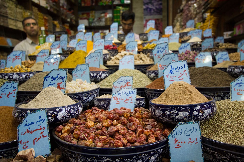 Spices for sale in the market in the market in Shiraz, Iran