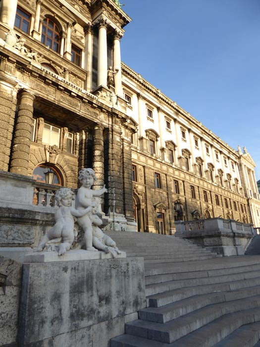 exterior of Hofburg Palace, Vienna in winter sunshine