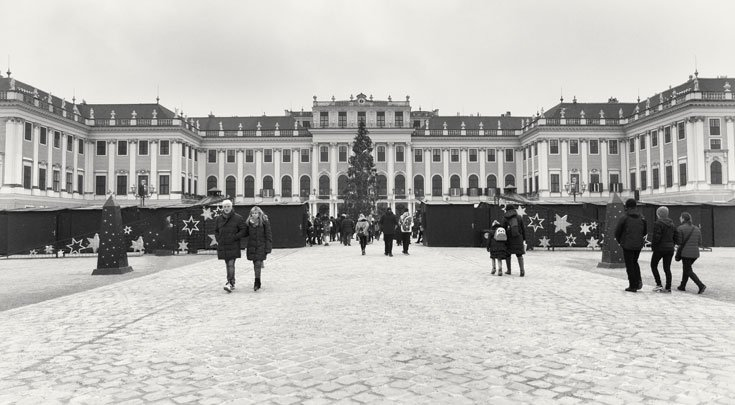 Outside Schloss Schönbrunn in Vienna at Christmas
