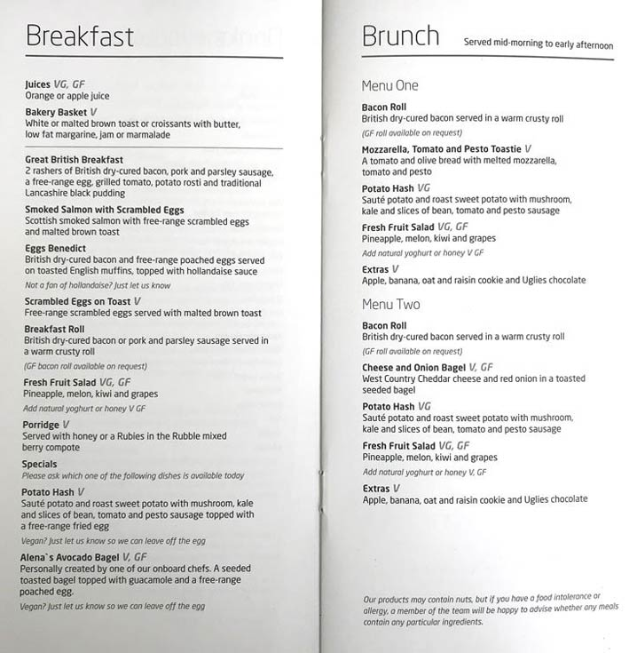 Virgin Trains First Class breakfast and brunch menu