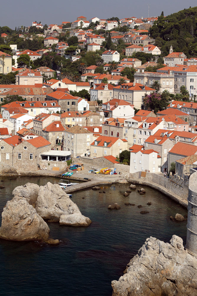 cream and terracotta buildings of dubrovnik and harbour