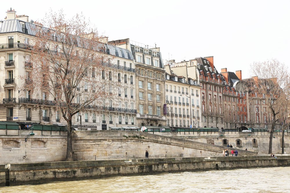 grand houses lining the river seine in paris