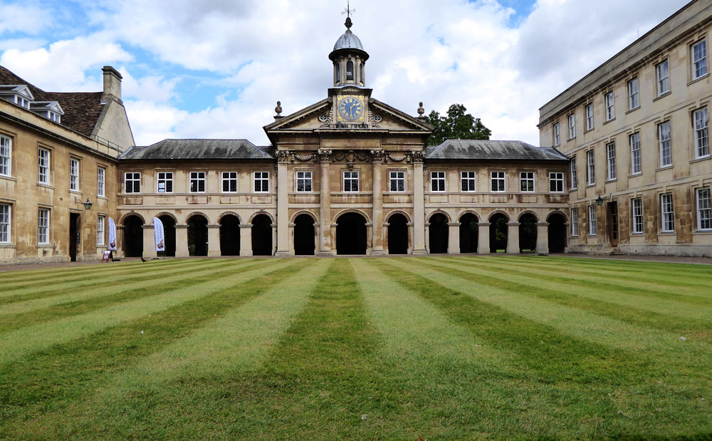 college buildings in cambridge around a grassed quadrangle