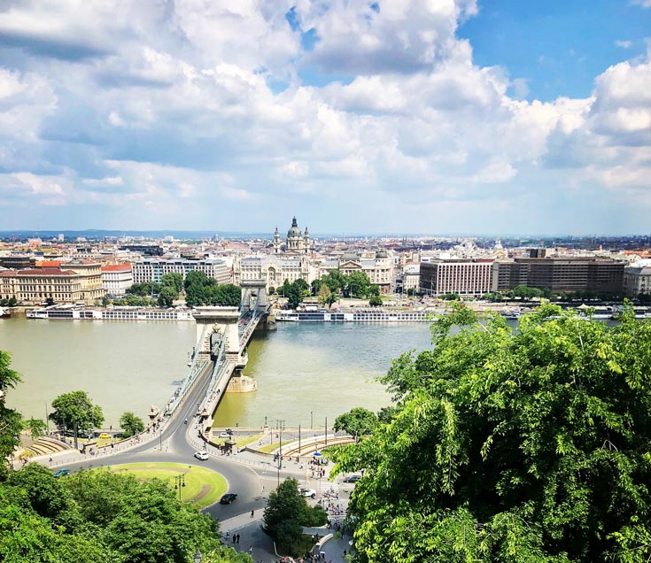 Budapest skyline and river