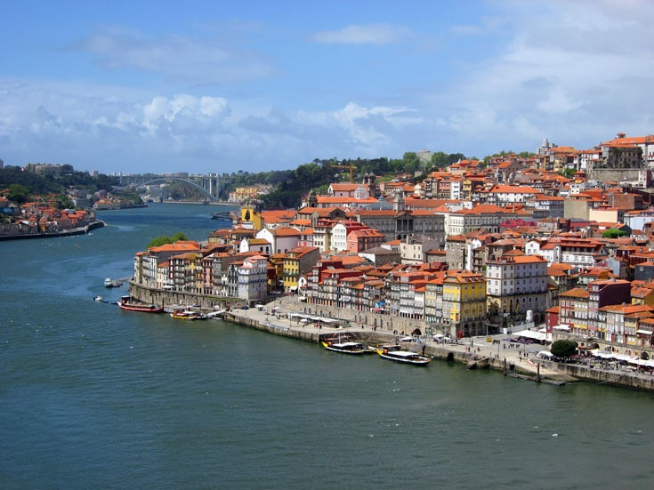 multocolored buidlings of porto portugal along the river