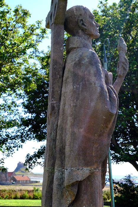st-aidan-sculpture-in-st-marys-churchyard-lindisfarne-