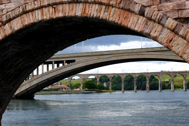 three bridges alons the river tweed at berwick