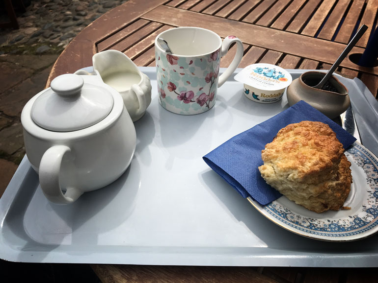 cream tea on a tray