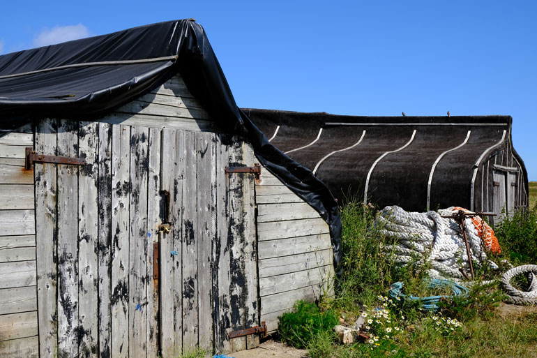 Holy Island's upside-down boat sheds