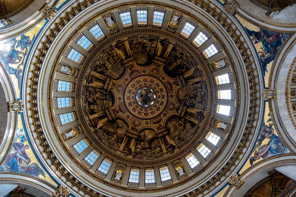 painted interior of dome of st pauls cathedral london