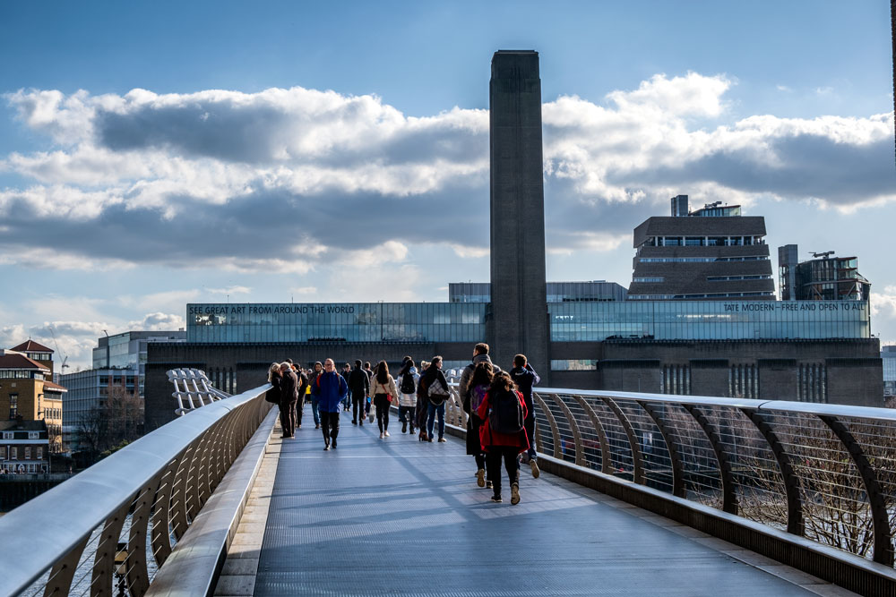 looking at the exterior of tate modern london from millennium bridge